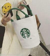 Starbucks Canvas Tote Bag Handbag Barrel Shape Shoulder Eco Shopping Bag White