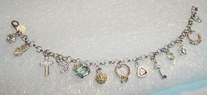 Sterling Silver 7.5'' Charm Bracelet Cross Heart Key Star Moon Charms 449-T