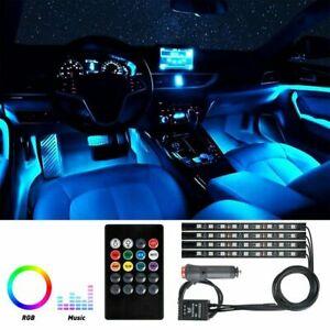 4Pcs 36 LED Car SUV Interior Decor Neon Atmosphere RGB Light Strip Music Control