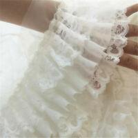 50CM White Chiffon Ruffle Lace Trim 3 Layer Pleated Ribbon Sewing 4.72'' Width