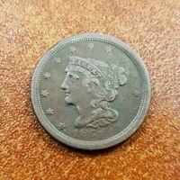 1851 1/2c BRAIDED HAIR HALF CENT, XF COIN! LOT#T640
