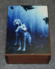 "#4569 WOLVES IN TWILIGHT KEEPSAKE JEWELRY WOOD CEDAR BOX 4.5"" X 6"""