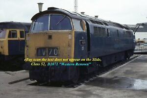 Original 35MM Colour Railway Slide of Diesel Loco Class 52, D1071 Western Renown