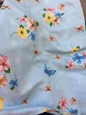 Vintage Thomaston Blue Floral/butterfly Twin Sheet Set Pillowcase 3-piece Flower