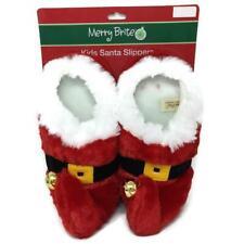 Christmas House Slippers Bedroom Shoes Santa or Elf Jingle Bells Kids Medium
