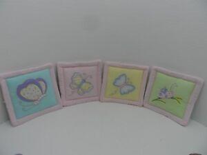KidsLine Gossamer Wings pastel butterfly, snail, ladybug 4 wall pictures 10x10