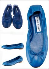 Manolo Blahnik Blue Napa Leather Round Toe Tobaly Flat Shoes SZ 35 - US 5