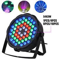 1/4/8/10PCS 54x3W RGBW LED Par Stage Light Stage Lamp DMX-512 Disco DJ Lighting