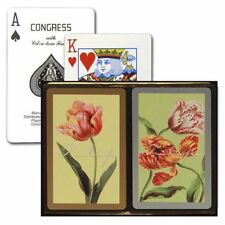 CONGRESS TULIPS BRIDGE PLAYING CARDS 2 DECK SET STANDARD INDEX NEW IN BOX