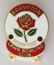 Brampton Lawn Bowling Club Badge Pin Rare Vintage Red Rose (M20)