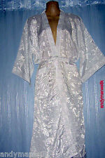 Thai Silk Kimono / Robe / Dressing Gown / White / Night Dress / Floral Pattern
