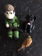 Edible Country Game Keeper Pheasant And Dog Cake Topper Icing Decoration