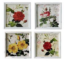 Set 4 quadri stampa fiori rose shabby chic vintage 34X34 cm l'uno