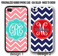 PERSONALIZED TEAL NAVY RED CHEVRON MONOGRAM CASE COVER For iPhone 6 6S 4 5S 5C