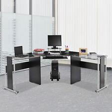 L Shaped Corner Computer Desk Pc Laptop Gaming Table Office Workstation Glass