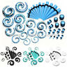21 Pair Vouge Gauge Acrylic Spiral Taper Stretcher Ear Plugs Tunnels Expander