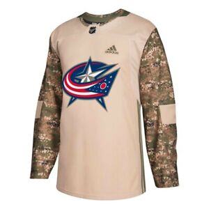 Columbus Blue Jackets NHL Adidas Camo 18 Authentic Veterans Day Practice Jersey