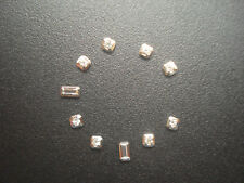 8 SQUARE AND 2 RECTANGLE SILVER CZ HOUR MARKERS FOR MENS DATEJUST DAY-DATE DIAL