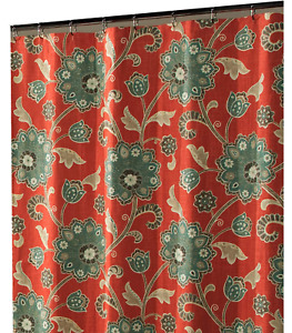 Red Flower  design fabric shower curtain