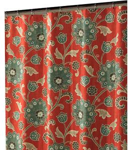 Red Flower  design fabric shower curtain