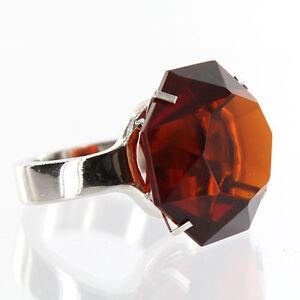 Giant Amber Diamond Ring -  Glass w/ Silver Band - Napkin Ring