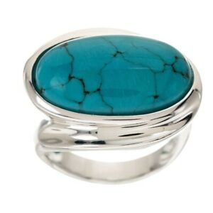 qvc Turquoise Bold Polished East/West Sterling Ring Size 8
