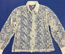 Camicia pizzo manica lunga trasparente vintage M sexy maglietta camicetta T454
