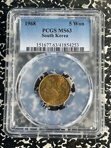 1968 Korea 5 Won PCGS MS63 Lot#A121 Choice UNC!