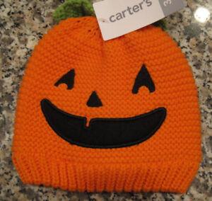 New NWT Carters Boy Girl Orange Pumpkin Halloween Knit Lined Hat 3-9 months