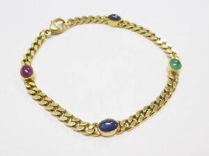Panzerarmband mit Edelsteinen 585 Gold Rubin, Saphir, Smarage - 507-15#