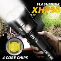 Ultra Bright 200000LM XHP90 LED Flashlight Rechargeable 6 Modes Torch 18650