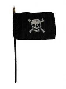"""Jolly Roger Pirate Skull Crossbones Flag 4""""x6"""" Desk Table Stick"""