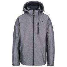 Trespass Mens Softshell Jacket Waterproof Hooded Coat Full Zip in Grey Carter