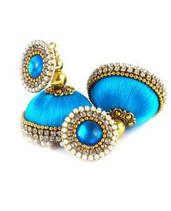 Women Silk Thread Earrings Jhumka Party Wedding Wear Traditional (Sky Blue)