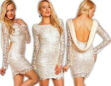 Mayaadi Kleid Minikleid Chiffon Häkel Spitze Abendkleid Spitzenkleid Hochzeit CS
