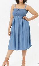 Forever 21 Blue Silky-Feel Chambray Smocked Midi Sun Dress Plus 3X NWT