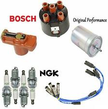 Fits VW Cabrio Golf Jetta KIT Bosch Cap Rotor Plugs Fuel Filter / NGK Wire Set