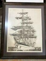 Nancy Reinke Limited Edition 18/60 Sailing Ship Etching Print, Signed & Framed