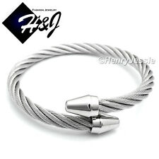 MEN WOMEN Stainless Steel Silver Twisted Cable Adjustable Bangle Bracelet*B65