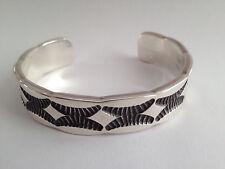 Nora Tahe Bill Signed Sterling Silver Navajo Cuff Bracelet, Heavy, Brand New #13