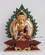 "7"" Shakyamuni Buddha Gold Gilded with Face Painted Statue from Patan, Nepal"