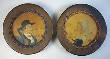 "Pair c1930 Quimper Pyrographic Painted Wood Husband/Wife 4.875"" Wooden Plate"