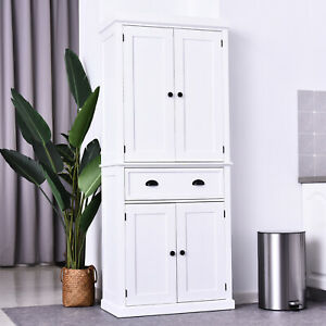 HOMCOM Traditional Colonial Freestanding Kitchen Pantry Cupboard Storage Cabinet