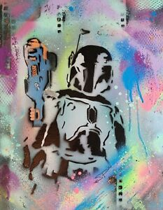 Star Wars Boba Fett Nerf Gun Blaster Ready Original Graffiti Style Street Art Or