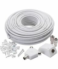 TV Aerial Extension Kit 15M Coaxial Plug Splitter Cable Coupler Freeview Lead
