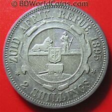 1895 SOUTH AFRICA 2 SHILLINGS SILVER KEY DATE! RARE ZUID  AFRICAN WORLD COIN