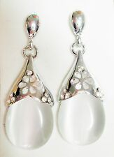 White Opaque Glass & Silver Tone 4cm Drop Earrings Butterfly back