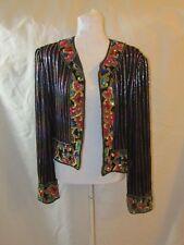 VINTAGE NITELINE by Della Roufogali Sequin Silk Jacket Size Large - EUC