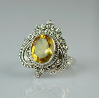 Citrine Silver Ring 925 Solid Sterling Silver Handmade Jewelry (US-CIT-003)