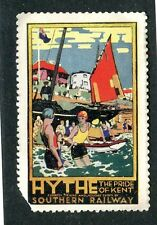 Vintage Poster Stamp Label SOUTHERN RAILWAY HYTHE Pride of Kent swim railroad